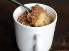 I was craving a cinnamon roll this morning but didn't feel like putting in the effort for a pan of cinnamon rolls. Instead, I found a coffee cake mug cake, it too about 5 minutes to mix (I had to mix sugar and molasses for brown sugar or it would have been shorter) and about a minute and a half to cook. It is fluffy and awesome.