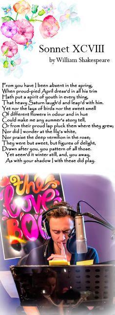 Tom Hiddleston reads Sonnet 98 by William Shakespeare. Audio: https://soundcloud.com/iliterature/tom-hiddleston-reads-sonnet-98-by-william-shakespeare