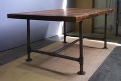pipe frame tables, desks and islands  THIS pushes SO many of my buttons - beautiful, practical, simple, industrial, WOW!