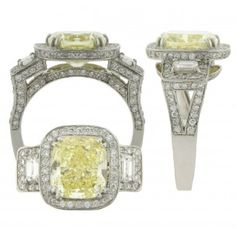 A 4.74ct. radiant, fancy intense yellow diamond, GIA certified, is set with four double prongs in a platinum cushion shaped mounting with two emerald cut diamonds, 0.43tw, and round diamond, 0.95tw, bead set around the radiant and emerald cut diamonds, in the undergallery, and down both sides of the band.