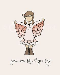 Childrens Art Print - Nursery Art Print - GIRLS Kids Room Decor - Fly if You Try - 8x10