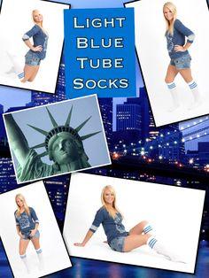 Multi purpose, high quality, made in USA Tube Socks, Blue Stripes, Light Blue, Polaroid Film, Color, Socks, Colour, Blue Streaks, Light Blue Color