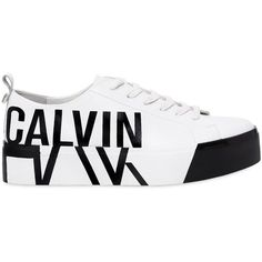 Calvin Klein Jeans Women 40mm Jayda Printed Logo Leather Sneakers (3.110 ARS) ❤ liked on Polyvore featuring shoes, sneakers, platform sneakers, leather trainers, leather shoes, platform shoes and logo shoes