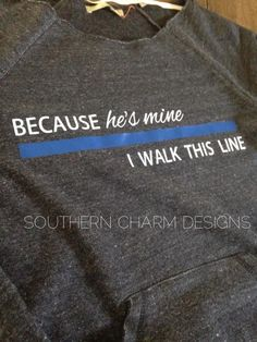 Because He's Mine, I walk this line Thin Blue Line LEO Slouchy Sweater - Thumbnail 1