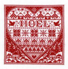 Christmas Redwork Noel - Cross Stitch Pattern #redwork