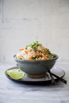 VERMICELLI TOFU NOODLE BOWL (print)  serves 2  notes: If you can't find or don't have access to vermicelli noodles, you could substitute for pad thai noodles (rice sticks). It is important to use regular or sprouted tofu. Silken tofu will be to soft for…