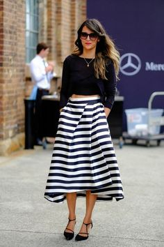 Street Style Looks From Australian Fashion Week. Black and white striped bell skirt