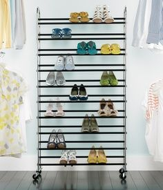 Shoe rack for the garage. The Container Store Chrome Rolling Shoe Rack Shoe Rack Store, Shoe Rack Closet, Shoe Cubby, Shoe Shelves, Closet Storage, Closet Organization, Shoe Racks, Shoe Organizer, Rack Design