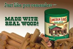 Lincoln Logs' owner says it would like to reshore production of its tiny logs to the U., if it can find a domestic supplier. The logs are produced in China for toy maker K'Nex, famed for insourcing its other toy lines. Woodworking Industry, Woodworking News, Lincoln Logs, Cool Mom Picks, American Manufacturing, I Remember When, Made In America, Best Mom, Real Wood