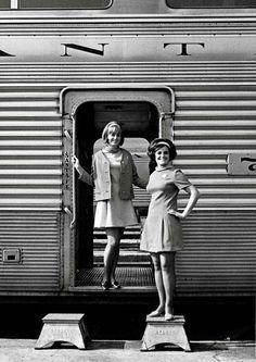 1969: Santa Fe's courier-nurses show off their new uniforms. Eat your heart out, Pan Am!