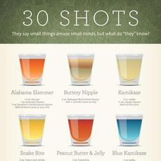 Great shot recipes to get the party started! #shot #blue #kamikaze #buttery #nipple #peanut #butter #jelly #alabama #slammer