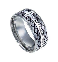 'Christ My Strength' - Silver Diamond Men's Ring