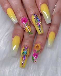 15 Cute Nail Art Designs to Welcome Summer – Nails Cute Nail Art Designs, Beautiful Nail Designs, Acrylic Nail Designs, Summer Acrylic Nails, Best Acrylic Nails, Summer Nails, Nail Swag, Essie, Nagel Bling