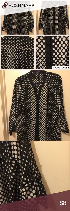 Hidden button Black and white polka dot blouse 100% polyester black with white polka dots blouse. Tops Blouses