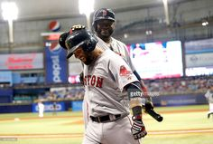 Dustin Pedroia of the Boston Red Sox celebrates his home run with teammate David Ortiz during the third inning of a game on September 2015 at Tropicana Field in St. Dustin Pedroia, David Ortiz, Boston Red Sox, Petersburg Florida, Socks, Running, Baseball Cards, Celebrities, Third