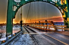sunset bridge by Gabriel Harnois on Gabriel, Bridge, Sunset, Sunsets, Archangel Gabriel, Bridges, Legs, Attic Rooms, Bro