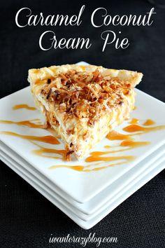 Caramel Coconut Cream Pie www.iwantcrazyblog.com