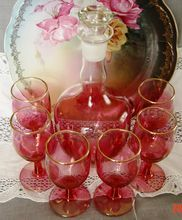 Ruby Flash Cranberry Decanter with 6 Stemware