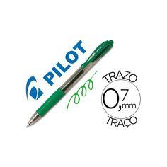 Color: Verde  Bolígrafo retráctil con tinta gel  Con sujeción de caucho y clip del color de la tinta  Grip de caucho en la parte inferior  Diámetro de bola: 0,7 mm  Trazo de 0,7 mm