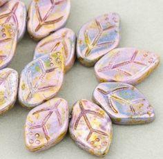 Medium Leaf Beads  Czech Glass Beads  Nature by SolanaKaiBeads