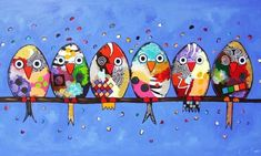 nl Colorfull n Joyfull Animal Art Art Fantaisiste, Art Populaire, Happy Paintings, Owl Paintings, Whimsical Art, Bird Art, Rock Art, Doodle Art, Art Lessons