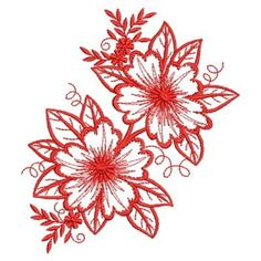 Redwork Artistic Flowers embroidery design