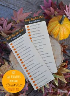 FREE Fall Activities Bucket List Punch Card… Do a fun fall activity, and punch out the pumpkin with a hole punch!