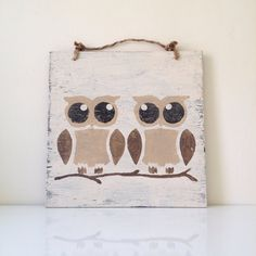 Rustic Owl Sign / Love Birds / Weathered Sign / Wall Art on Etsy