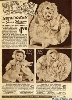 1937 Sears Page 11 Old Dolls, Antique Dolls, Vintage Dolls, Christmas History, Christmas Books, Christmas Catalogs, Sears Toys, Big Baby Dolls, Toy Catalogs
