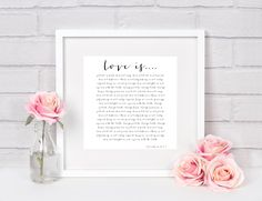 A personal favorite from my Etsy shop https://www.etsy.com/listing/522000742/love-is-patient-love-is-kind-1