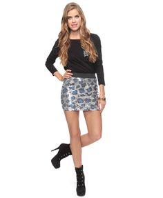 sequin leopard skirt