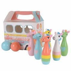 Tiger Tribe Wooden Skittles - Unicorn - available online at Little Boo-Teek! B Shop our huge range of unique gifts for girls by Tiger Tribe online at Little Boo-Teek! Boutique baby store online - for the little kid with BIG personality!