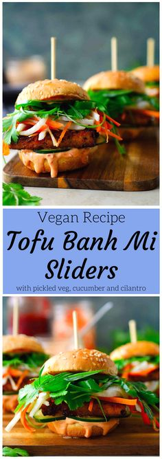 These tofu banh mi vegan sliders are packed with flavour and a fun twist on the classic banh mi sandwich. They're great as vegan finger food or appetizers for a party, or as a delicious dinner served (Vegan Sandwich Recipes) Healthy Vegan Dessert, Vegan Party Food, Vegan Vegetarian, Vegetarian Recipes, Vegan Wedding Food, Vegan Food, Vegan Dinner Party, Vegan Snacks, Tofu Recipes