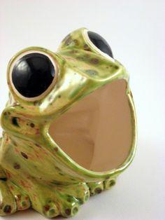 Vintage Scrubby Holder Ceramic Frog Sponge Holder Kitchen Decor , Speckled  Green