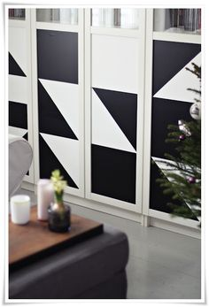 Geometric contact paper on Billy bookcase