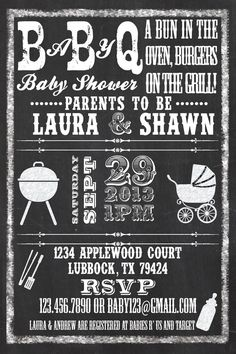 Printable Baby Q BBQ Baby Shower Chalkboard Style by PuzzlePrints, $15.00