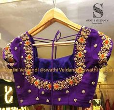 embroidery hand Stunning purple color bridal designer blouse with floral design hand embroidery gold thread and kundan work.Pin by shalini on Designer blouses Pattu Saree Blouse Designs, Blouse Designs Silk, Designer Blouse Patterns, Bridal Blouse Designs, Sari Blouse, Hand Work Blouse Design, Simple Blouse Designs, Stylish Blouse Design, Maggam Work Designs