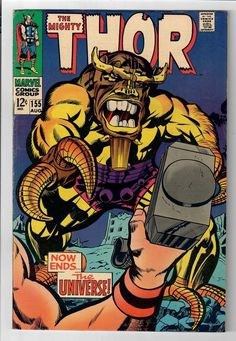 """Cover pencils by Jack Kirby, inks by Vince Colletta. """"Now Ends the Universe! THOR (Vol. Marvel Comic Books, Marvel Characters, Comic Books Art, Stan Lee, Comic Book Artists, Comic Artist, Dc Comics, Jack Kirby Art, Mystery"""