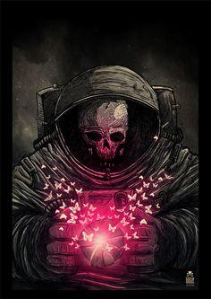 Skull - Dead astronaut by Sebastian Skrobol, via Behance Art Beat, Art And Illustration, The Crow, Art Tumblr, Psy Art, Skull And Bones, Skeleton Bones, Sci Fi Art, Skull Art