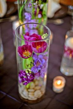 Flowers inside vase centerpiece