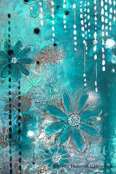 The hummel home: aqua love journal d'art, art journal pages, art Mixed Media Journal, Mixed Media Canvas, Mixed Media Collage, Collage Art, Kunstjournal Inspiration, Art Journal Inspiration, Art Journal Pages, Art Journals, Art Journal Backgrounds