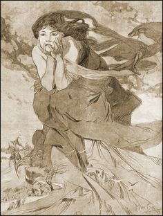 ❤ - Alphonse Mucha | For magazine Cocorico. Pencil and wash, white gouache highlights - 1899.
