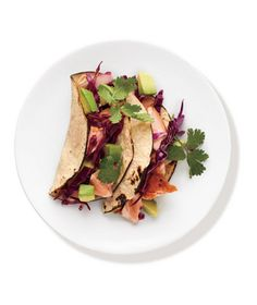 Salmon Tacos With Cabbage Slaw Recipe from realsimple.com. #myplate #protein #veggies #vegetables