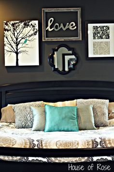 Master Bedroom Paint colors: Glidden Bittersweet Chocolate {Home Depot}, Valspar Lambs Ear {Lowes}