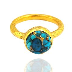 Designer 18k gold plated ring featured with blue copper turquoise gemstone, pure handmade. Best price with worldwide shipping. Custom design expert! Email : cheevinos@gmail.com