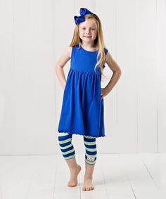 Love this Blue & Lime Capri Leggings & Bow Clip - Infant, Toddler & Girls by RuffleGirl on #zulily! #zulilyfinds