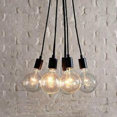 Edison Bulb LED Multi Light Pendant in Black for Dining Room Kitchen Bar Counter Plug In Pendant Light, Black Pendant Light, Industrial Pendant Lights, Pendant Light Fixtures, Pendant Lamp, Pendant Lighting, Bar Lighting, Blown Glass Chandelier, Chandelier Art