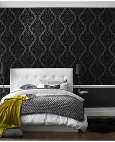 Kinky Vintage | Black Damask Flock Wallpaper | bedroom