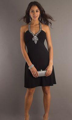 Vestido coquetel preto com brilhantes