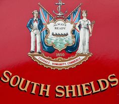 The coat of arms of South Shields in the North East of England.  Situated at the mouth of the River Tyne,  the town was historically an important seaport. Its notable citizens include the inventor of the life boat William Wouldhave,  WW1 hero John Simpson Kirkpatrick (known as The Man with the Donkey at Gallipoli) and the film director Ridley Scott.